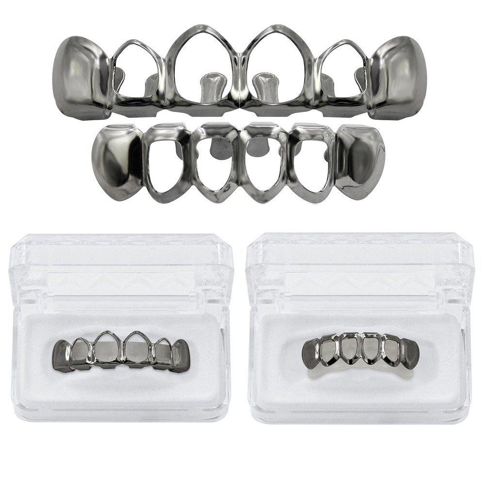 Hip Hop 18K Gold Plated Hollow Teeth Grillz - GUN BLACK