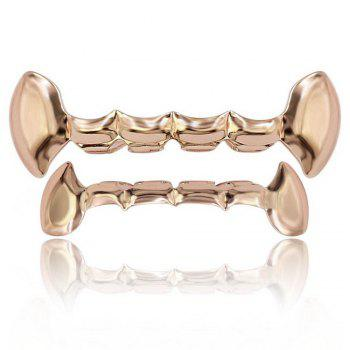 Hip Hop 18K Gold Plated Vampire Fangs Teeth Grillz - ROSE GOLD ROSE GOLD