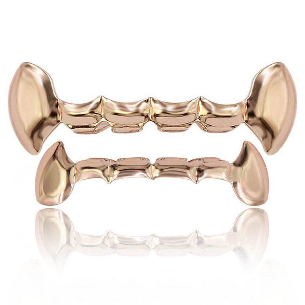 Hip Hop 18K Gold Plated Vampire Fangs Teeth Grillz - ROSE GOLD