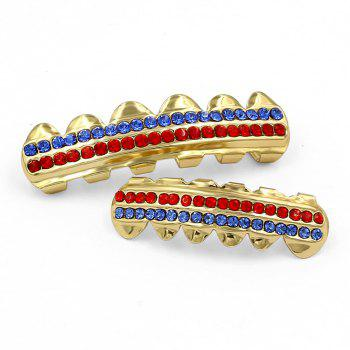 Hip Hop 18K Gold Plated Gold Crystal Classic Grillz - GOLDEN
