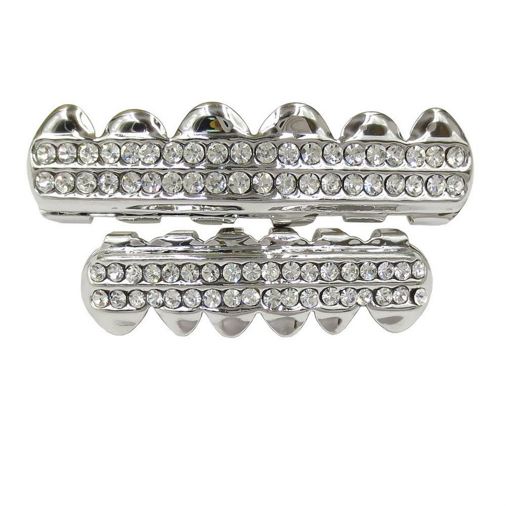 Hip Hop 18K Gold Plated Gold Crystal Classic Grillz - SILVER