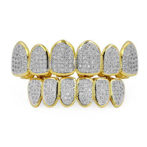 Hip Hop 18K Gold Plated Vampire CZ Stone Teeth Grillz - GOLDEN