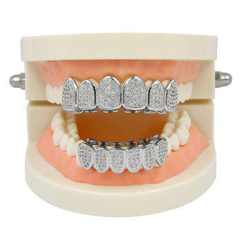 Hip Hop 18K Plaqué Or Vampire CZ Pierre Dents Grillz - Argent