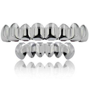 Hip Hop 18K Gold Plated 8 Teeth Classic Grillz - SILVER SILVER