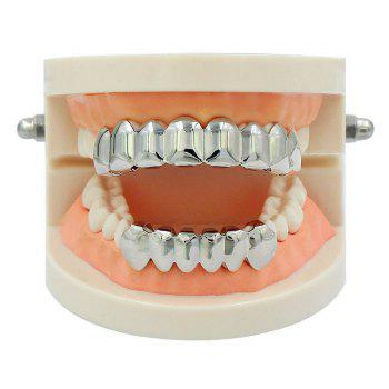 Hip Hop 18K Gold Plated 8 Teeth Classic Grillz - SILVER