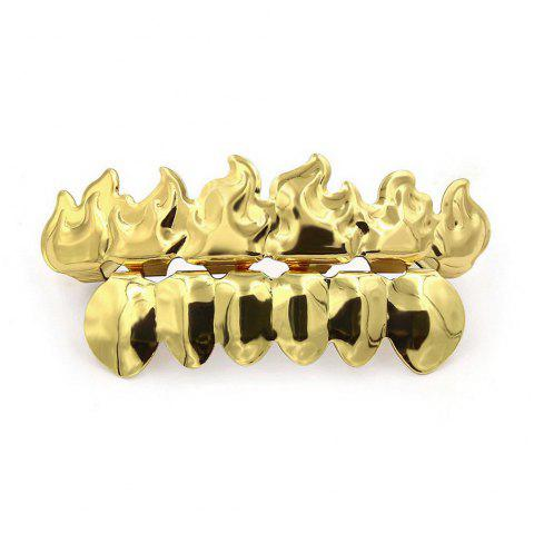 Hip Hop 18K Gold Plated Fire Teeth Grillz - GOLDEN