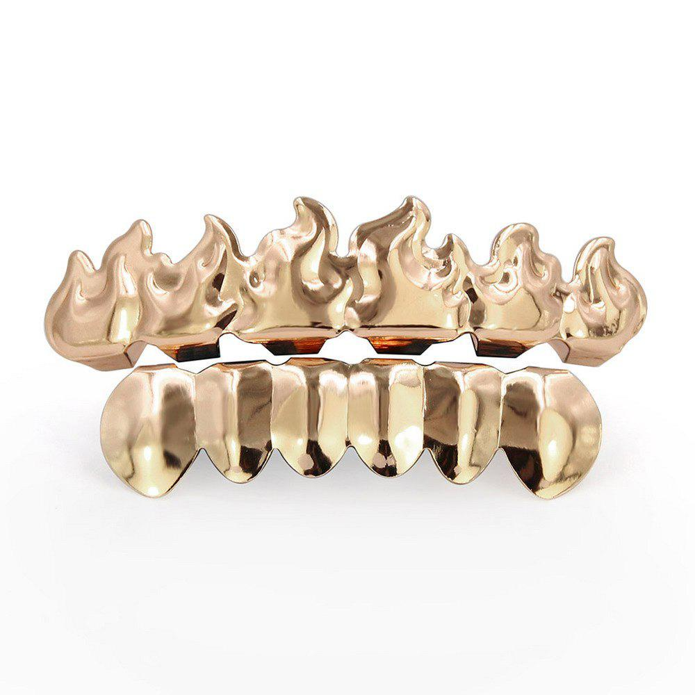 Hip Hop 18K Gold Plated Fire Teeth Grillz - ROSE GOLD