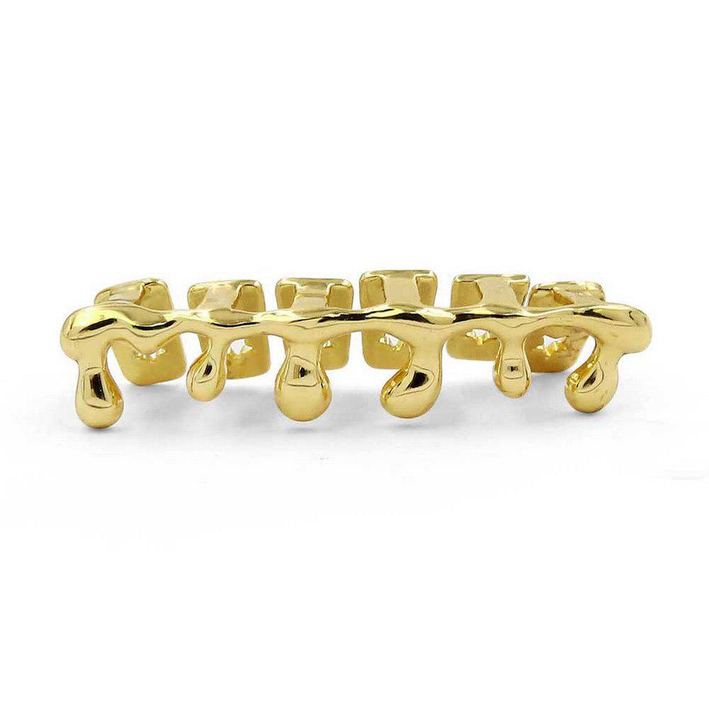 Hip Hop 18K Gold Plated Water drops Teeth Grillz - GOLDEN