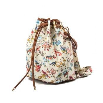 Drawstring Backpack For Women Waterproof Drawstring Sports Bag (White & flower) -  WHITE