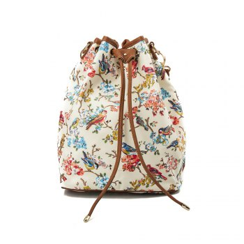 Drawstring Backpack For Women Waterproof Drawstring Sports Bag (White & flower) - WHITE WHITE