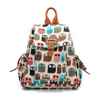 School Backpacks For Girls Floral Canvas Backpack College Backpack Owl - COLORFUL COLORFUL