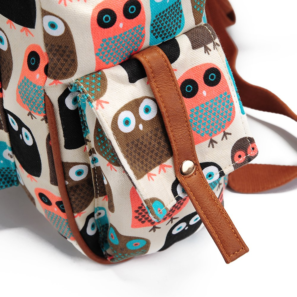 School Backpacks For Girls Floral Canvas Backpack College Backpack Owl - COLORFUL