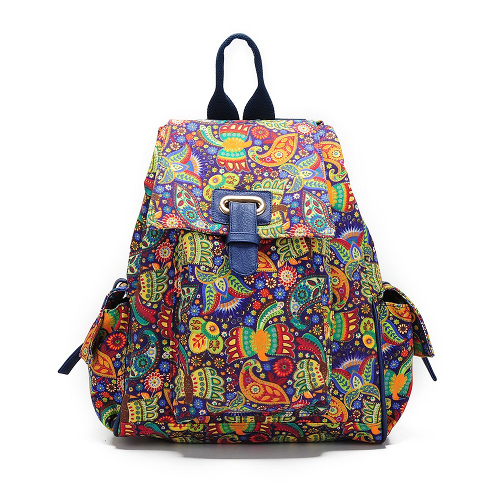 School Backpacks For Girls Floral Canvas Backpack College Backpack Bird - COLORFUL