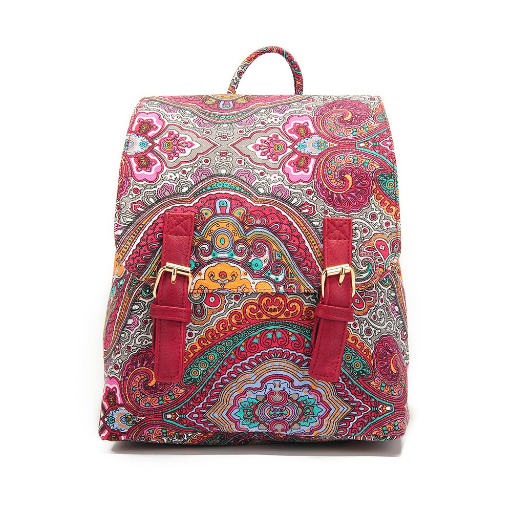 Small Canvas Backpack For Women Mini Backpack Floral Backpack Red - RED