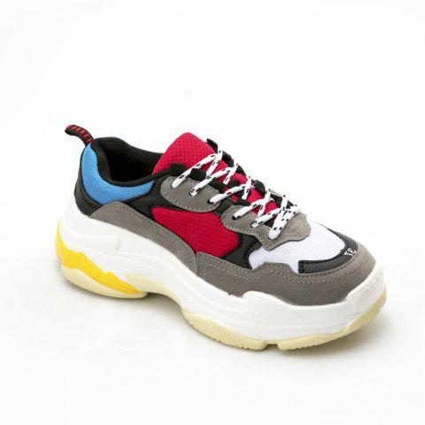 Men's Autumn Outdoor  High Breathable Casual Sports Shoes 39-44 - BLACK/RED 40