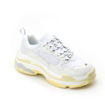 Men's Autumn Outdoor  High Breathable Casual Sports Shoes 39-44 - WHITE AND YELLOW WHITE/YELLOW