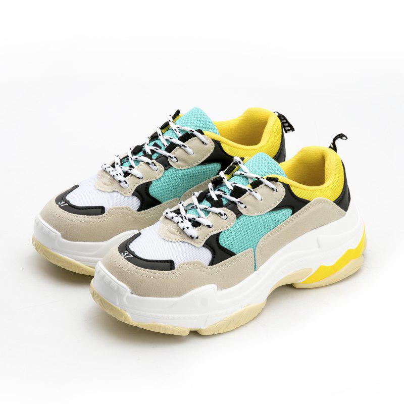 Men's Autumn Outdoor  High Breathable Casual Sports Shoes 39-44 - GREEN/YELLOW 40