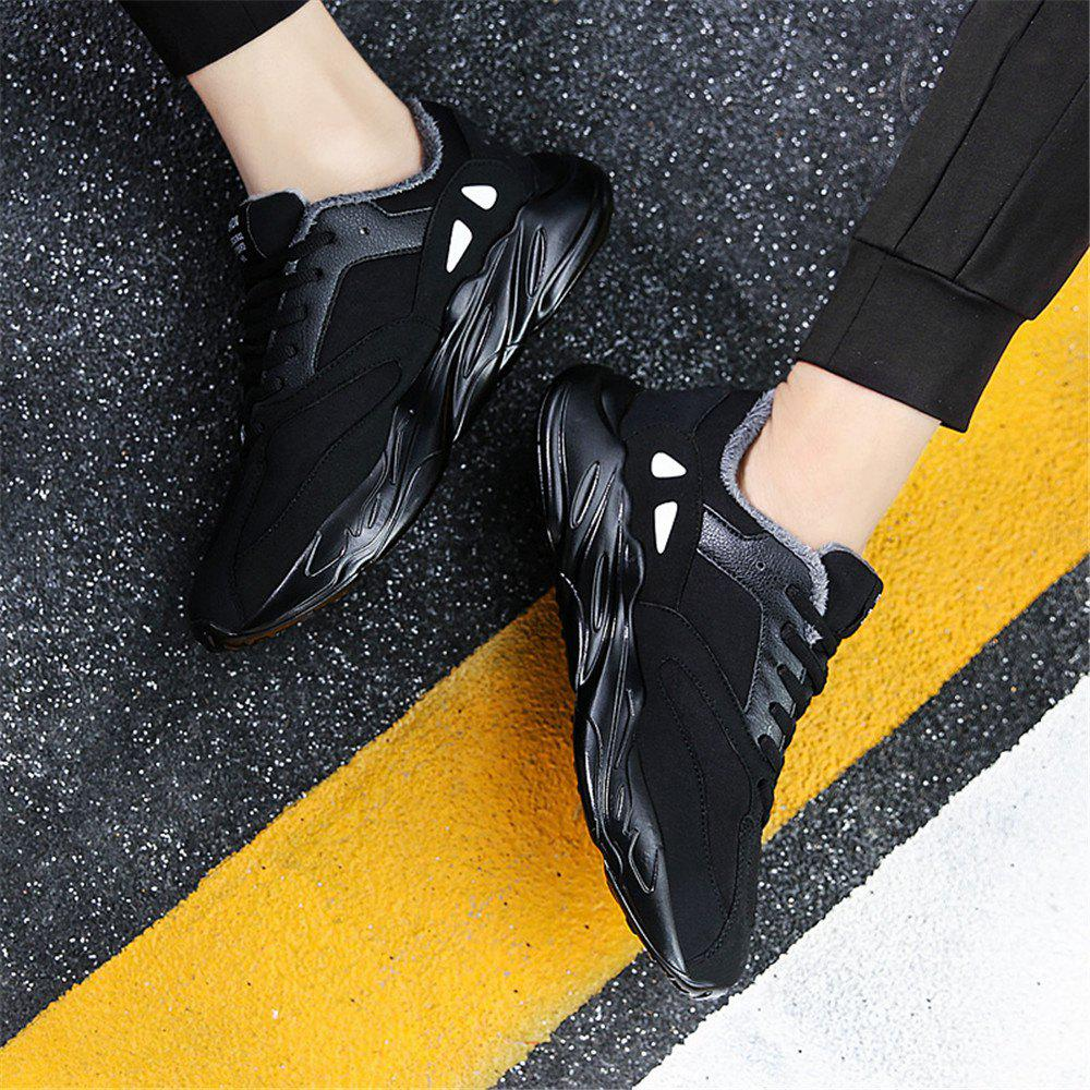 Men's Autumn Outdoor Hiking High Help Cotton Casual Sports Shoes 39-44 - BLACK 40