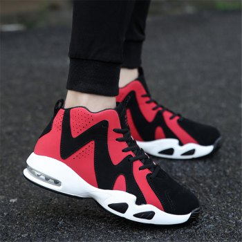 Men's Autumn Outdoor Hiking High Help Casual Sports Shoes 39-44 - BLACK/RED BLACK/RED