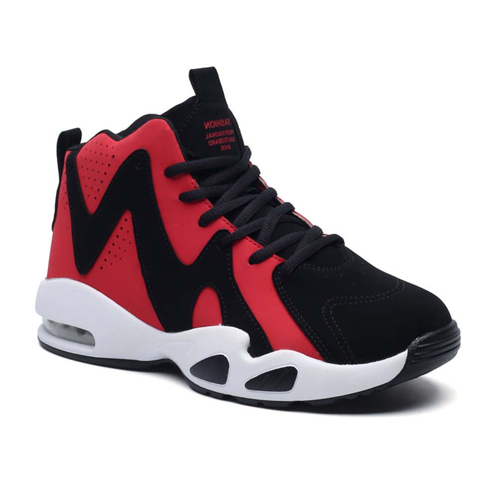 Men's Autumn Outdoor Hiking High Help Casual Sports Shoes 39-44 - BLACK/RED 42