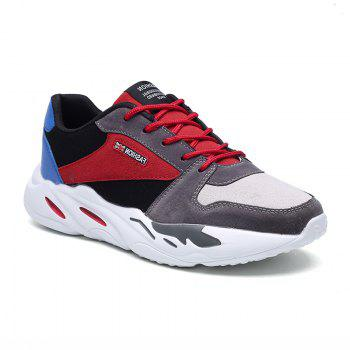 Men's Autumn Outdoor Breathable Leisure Comfort High Help Hiking Sneakers 39-44 - GRAY AND RED GRAY/RED