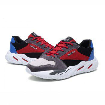 Men's Autumn Outdoor Breathable Leisure Comfort High Help Hiking Sneakers 39-44 - GRAY/RED GRAY/RED
