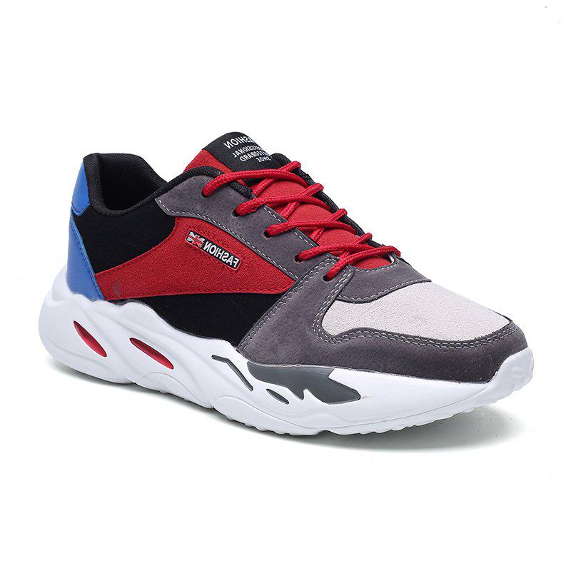 Men's Autumn Outdoor Breathable Leisure Comfort High Help Hiking Sneakers 39-44 - GRAY/RED 40