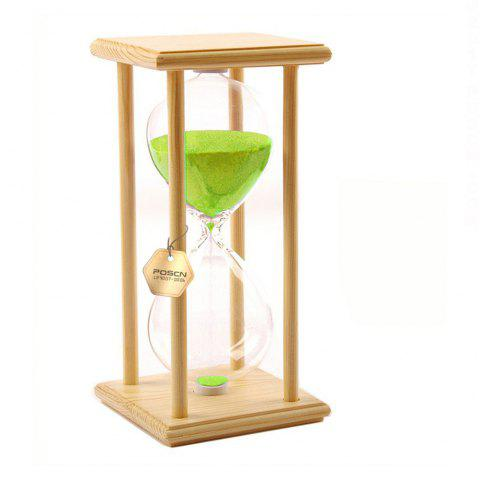 POSCN 30 Minutes Durable Glass Hourglasses Crude Wood Sand Timer for Time Management LP9007-0005 - GREEN
