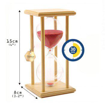 POSCN 30 Minutes Durable Glass Hourglasses Crude Wood Sand Timer for Time Management LP9007-0005 - PINK
