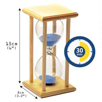 POSCN 30 Minutes Durable Glass Hourglasses Crude Wood Sand Timer for Time Management LP9007-0005 - BLUE