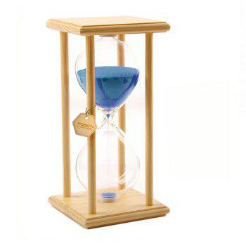 POSCN 30 Minutes Durable Glass Hourglasses Crude Wood Sand Timer for Time Management LP9007-0005 - BLUE BLUE