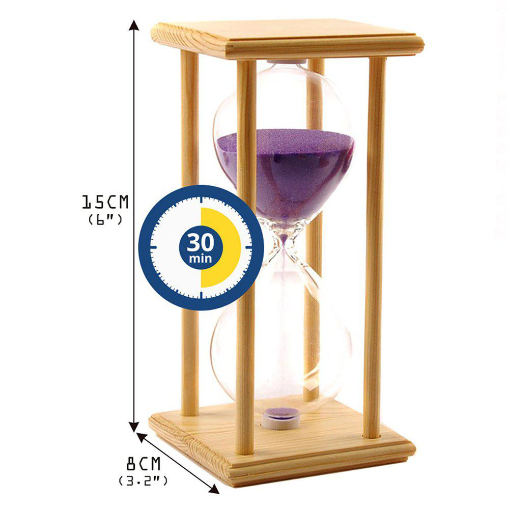 POSCN 30 Minutes Durable Glass Hourglasses Crude Wood Sand Timer for Time Management LP9007-0005 - PURPLE