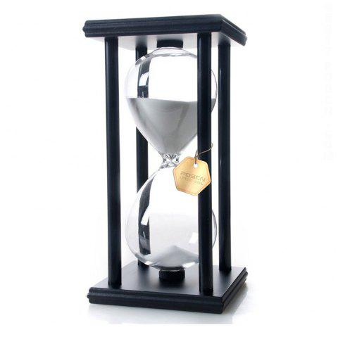 POSCN 15 Minutes Durable Glass Hourglasses Black Wood Sand Timer for Time Management LP9007-0007 - WHITE