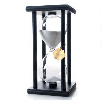 POSCN 15 Minutes Durable Glass Hourglasses Black Wood Sand Timer for Time Management LP9007-0007 - WHITE WHITE