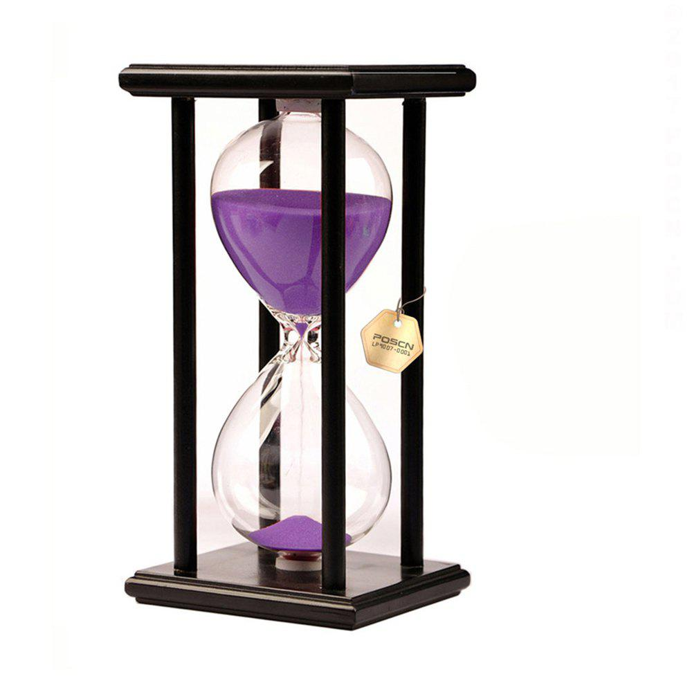 POSCN 15 Minutes Durable Glass Hourglasses Black Wood Sand Timer for Time Management LP9007-0007 - PURPLE