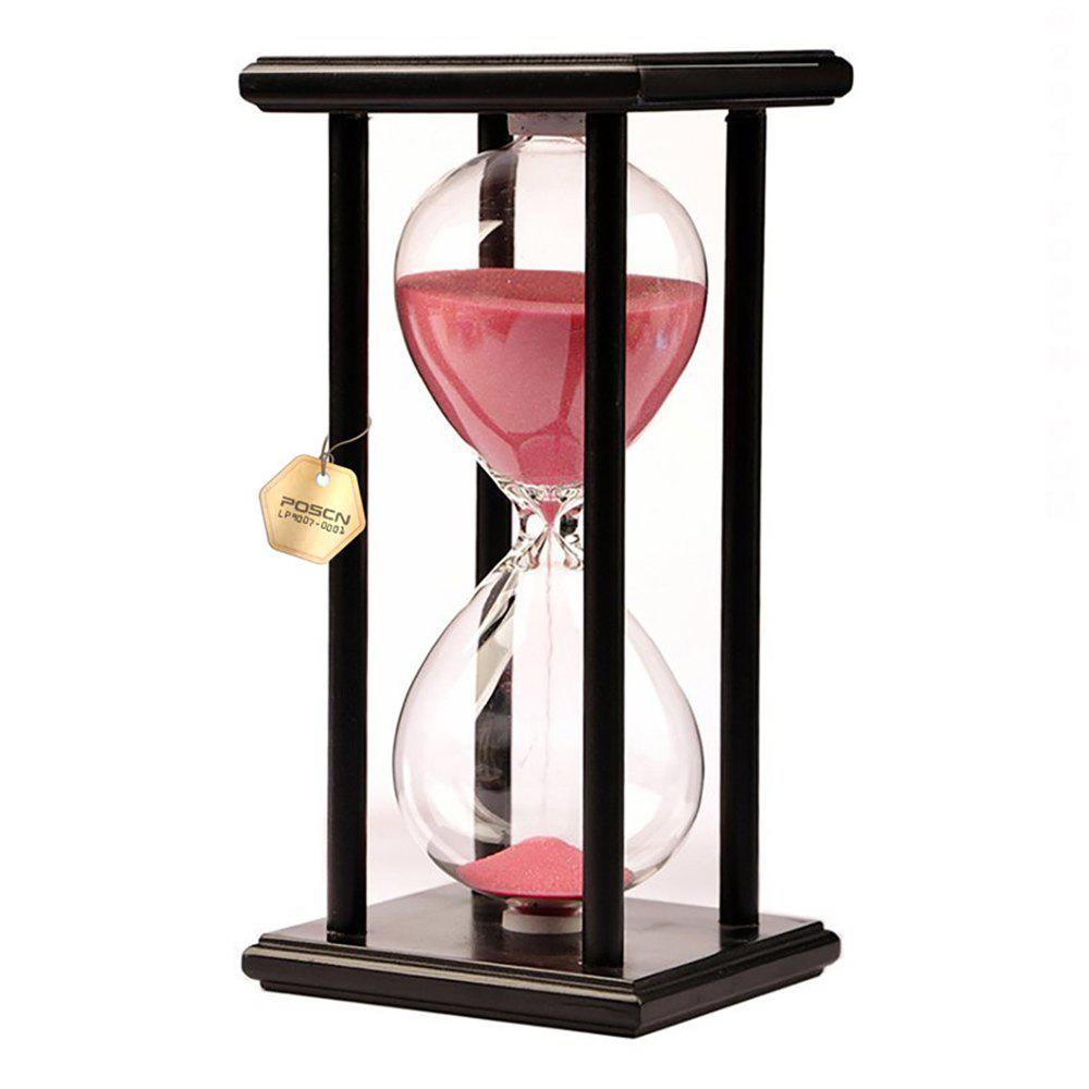 POSCN 15 Minutes Durable Glass Hourglasses Black Wood Sand Timer for Time Management LP9007-0007 - PINK
