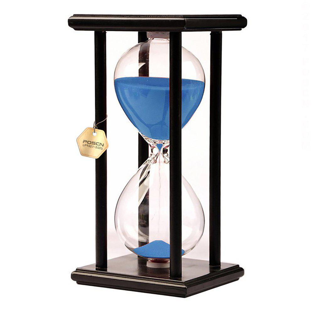 POSCN 15 Minutes Durable Glass Hourglasses Black Wood Sand Timer for Time Management LP9007-0007 - BLUE