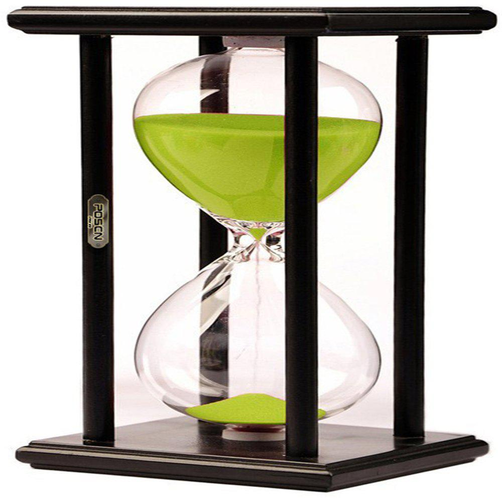 POSCN 15 Minutes Durable Glass Hourglasses Black Wood Sand Timer for Time Management LP9007-0007 - GREEN