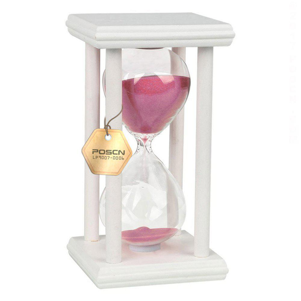 POSCN 15 Minutes Durable Glass Hourglasses White Wood Sand Timer for Time Management LP9007-0008 - PINK