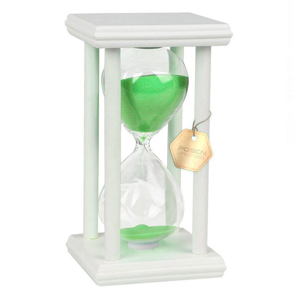 POSCN 15 Minutes Durable Glass Hourglasses White Wood Sand Timer for Time Management LP9007-0008 - GREEN