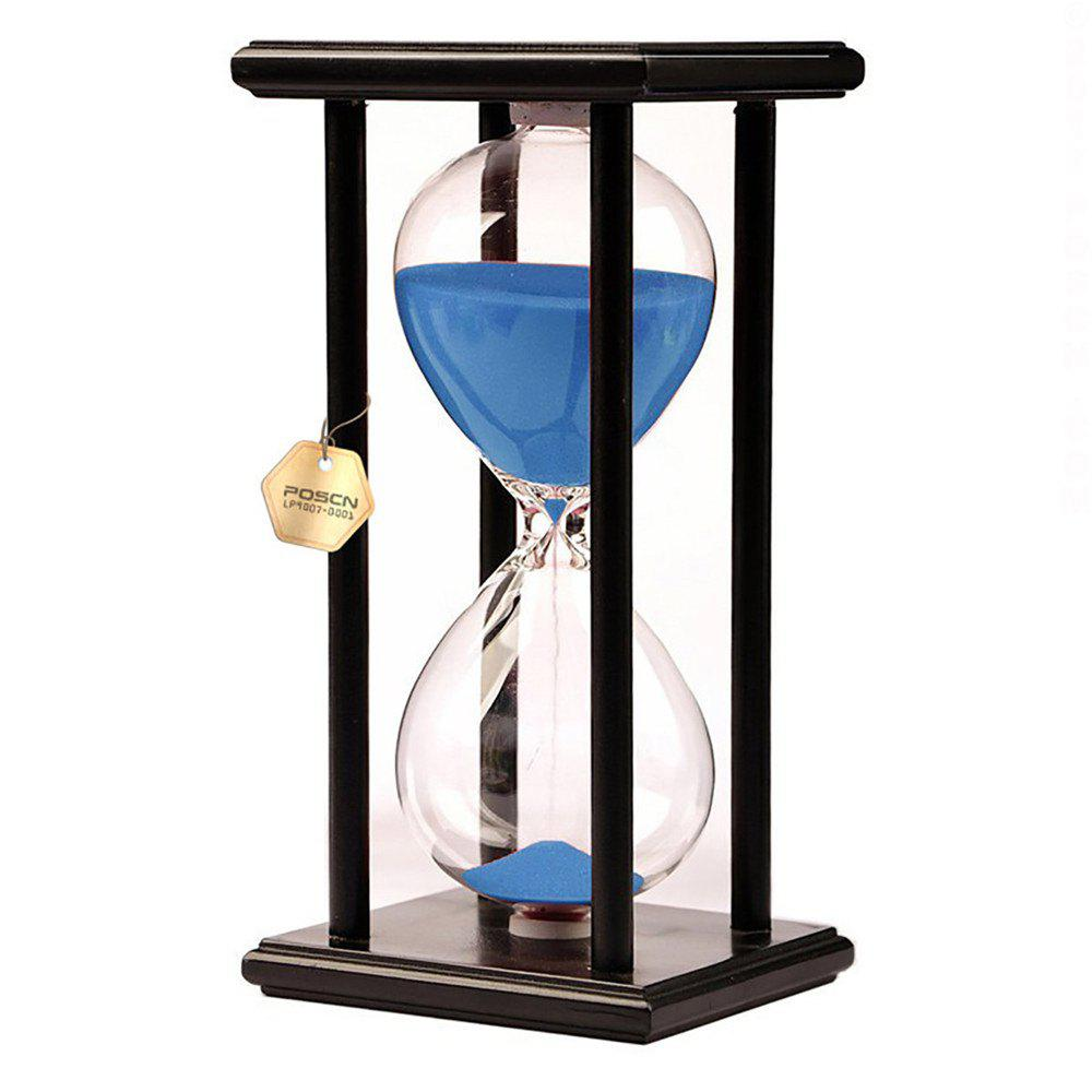 POSCN 45 Minutes Durable Glass Hourglasses Black Wood Sand Timer for Time Management LP9007-0009 - BLUE