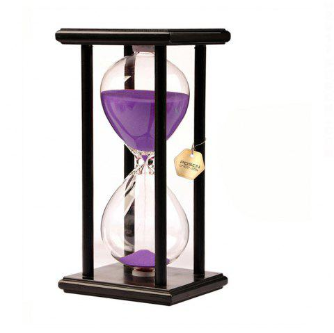 POSCN 60 Minutes Durable Glass Hourglasses Black Wood Sand Timer for Time Management LP9007-0010 - PURPLE