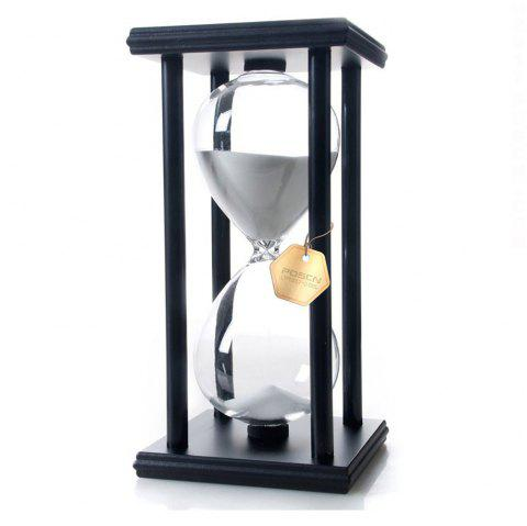 POSCN 60 Minutes Durable Glass Hourglasses Black Wood Sand Timer for Time Management LP9007-0010 - WHITE