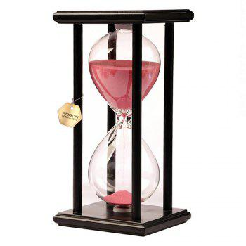 POSCN 60 Minutes Durable Glass Hourglasses Black Wood Sand Timer for Time Management LP9007-0010 - PINK PINK