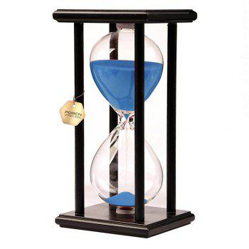 POSCN 60 Minutes Durable Glass Hourglasses Black Wood Sand Timer for Time Management LP9007-0010 - BLUE BLUE