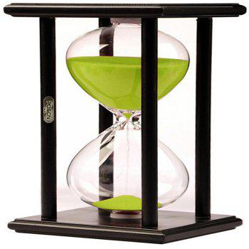 POSCN 60 Minutes Durable Glass Hourglasses Black Wood Sand Timer for Time Management LP9007-0010 - GREEN GREEN
