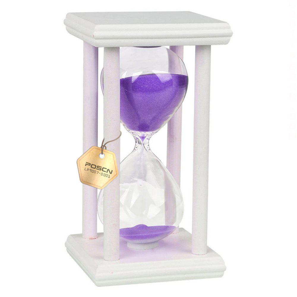 POSCN 30 Minutes Durable Glass Hourglasses White Wood Sand Timer for Time Management LP9007-0011 - PURPLE