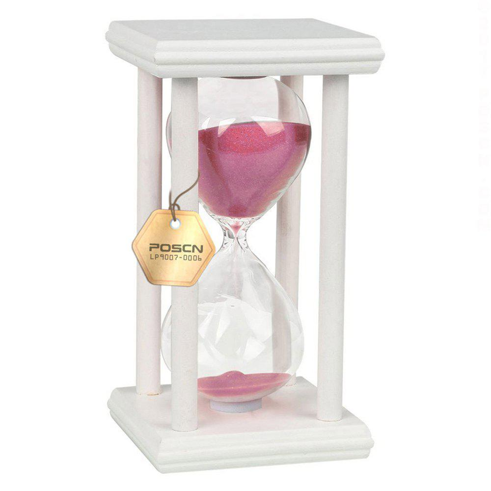 POSCN 30 Minutes Durable Glass Hourglasses White Wood Sand Timer for Time Management LP9007-0011 - PINK