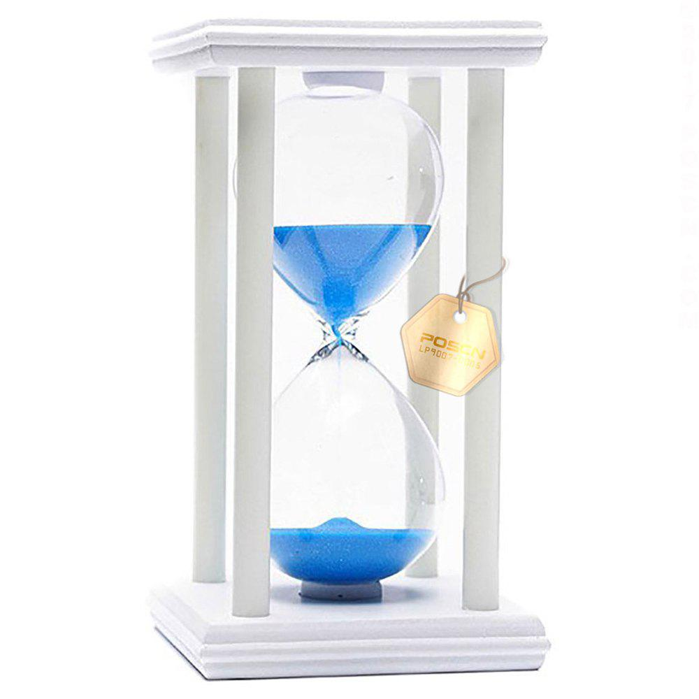 POSCN 60 Minutes Durable Glass Hourglasses White Wood Sand Timer for Time Management LP9007-0018 - BLUE