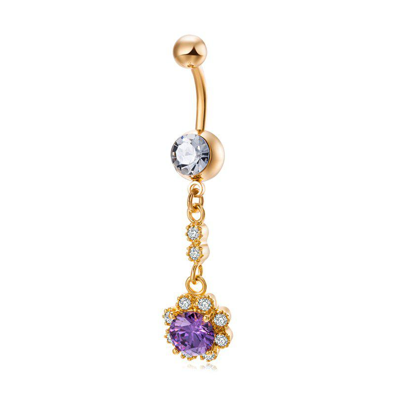 Concise and Elegant Zircon Navel Ring P0252 - PURPLE